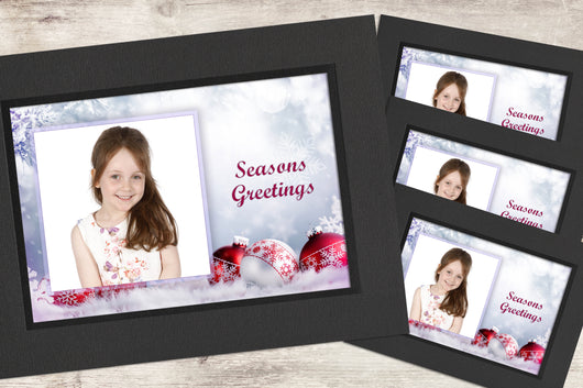 Christmas Photo-Cards - Baubles - Pack of 4 (or more)
