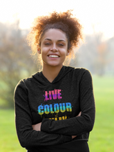 Load image into Gallery viewer, Live Colourfully Carefree Crop Hoodie