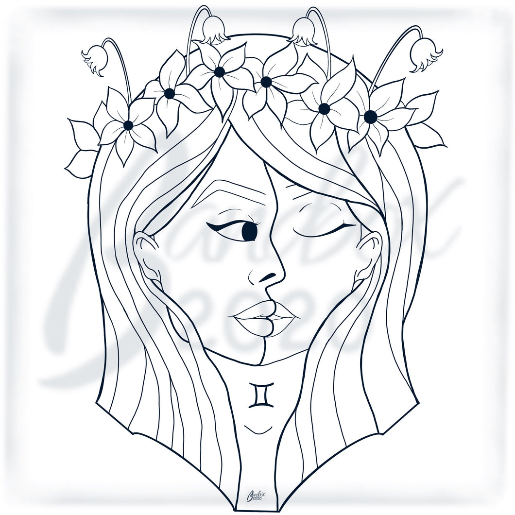 Zodiac *Gemini* Digital Colouring Page