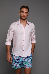 LONG SLEEVE PINK LINEN SHIRT