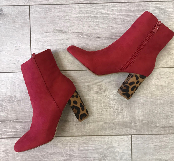 Chilton Red Cheetah Bootie