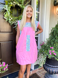 J Marie/Pink & Mint Embroidery Dress