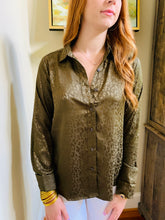 The Caroline Leopard Olive Blouse