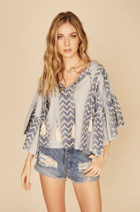 Tribal Print Bell Sleeve Blouse FINAL SALE