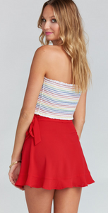 MUMU Roam Ruffle Skirt-Tomato Red/FINAL SALE