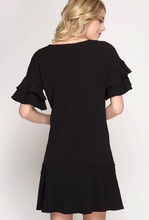 Black Ruffled Sleeve
