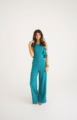 Teal Halter Jumpsuit Final Sale