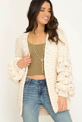 Long Bubble Sleeve Sweater Cardigan