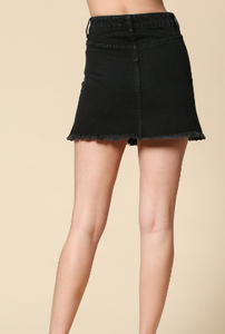 Button Down Black Denim Skirt