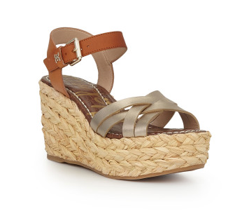 Darline Wedge Gold/Buff Leather