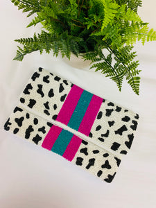 The Mercedes Beaded Stripe Clutch