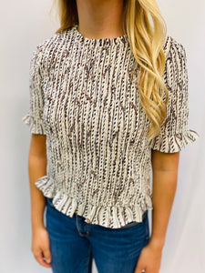 THML/The Natalia Smocked Chain Top