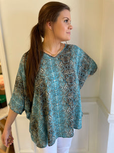 Turquoise animal print oversized top