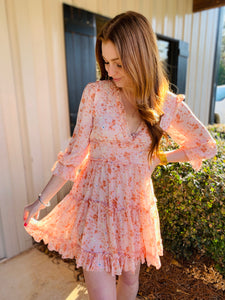 Karlie / Floral Chiffon VNeck Dress