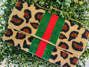 Line Center Leopard Beaded Clutch