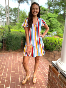 Karlie / Multi Stripe Wood Button Ruffle Dress/FINAL SALE