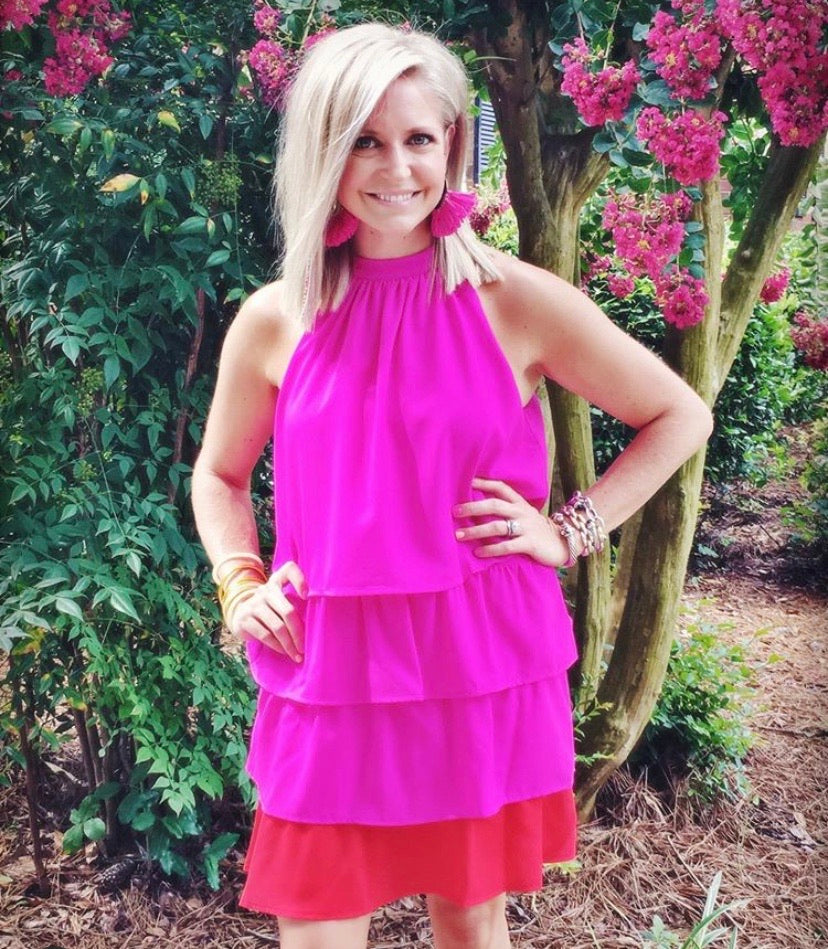 Magenta Two-Toned Dress