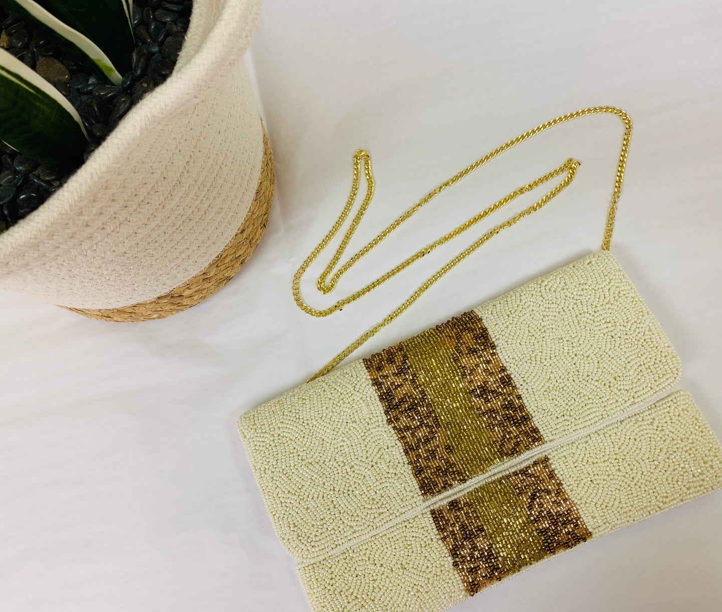 Siena Stripe Beaded Bag