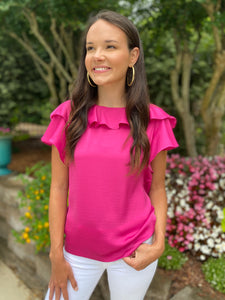 Ruffle Cap Sleeve Magenta Top (FINAL SALE)