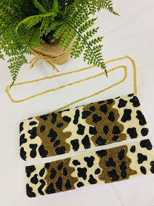 The TwoTone Cheetah Beaded Clutch