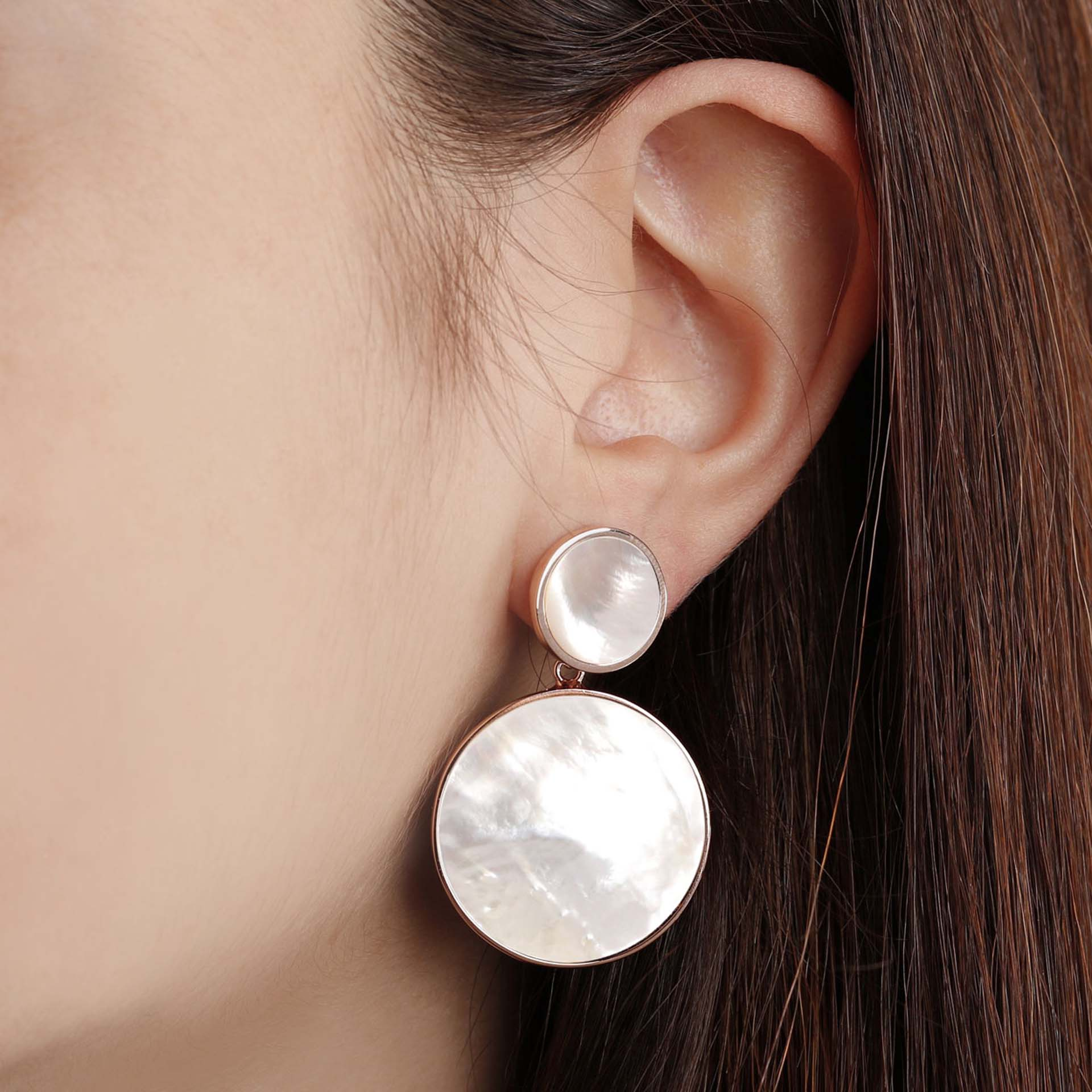 Two Discs Dangle Earrings