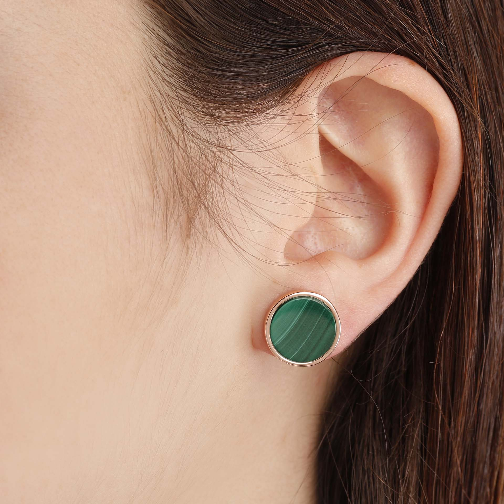 Gemstone Button Earrings