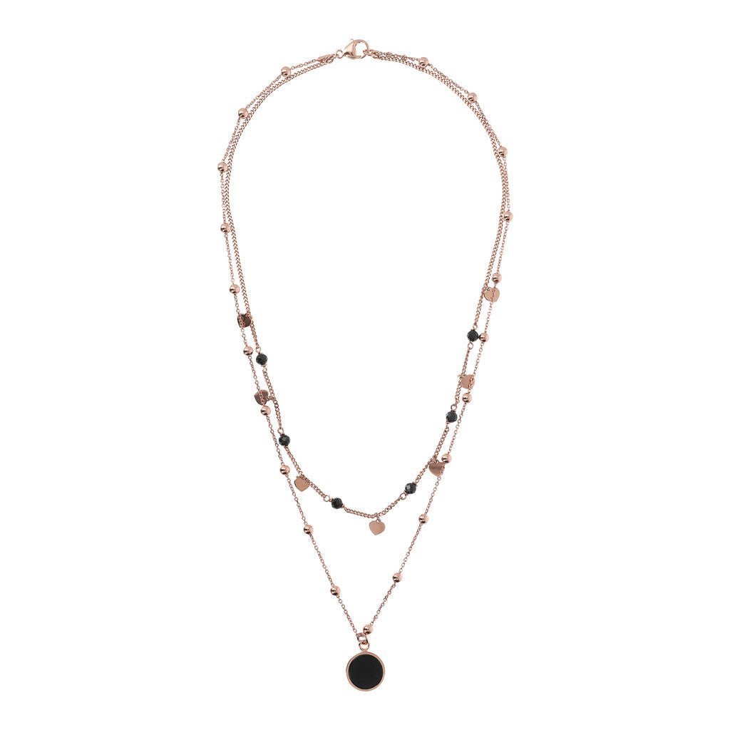 ALBA 2 STRANDS NECKLACE WITH FACETED GEMSTONE - WSBZ01793 BLACK ONYX from above