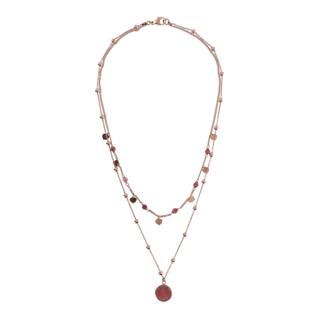 ALBA 2 STRANDS NECKLACE WITH FACETED GEMSTONE - WSBZ01793 RED FOSSIL WOOD from above