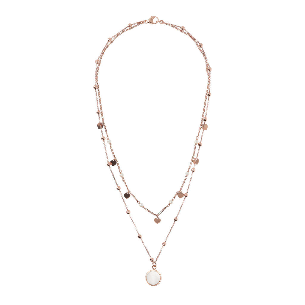 ALBA 2 STRANDS NECKLACE WITH FACETED GEMSTONE - WSBZ01793 WHITE MOP from above