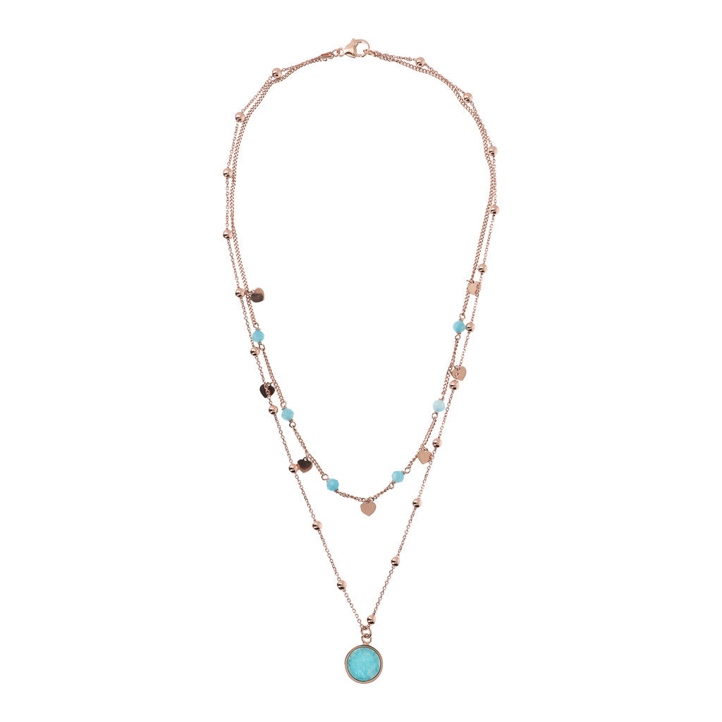 Bronzallure | Necklaces | Double Strand Necklace with Natural Stone and Golden Rosé Hearts