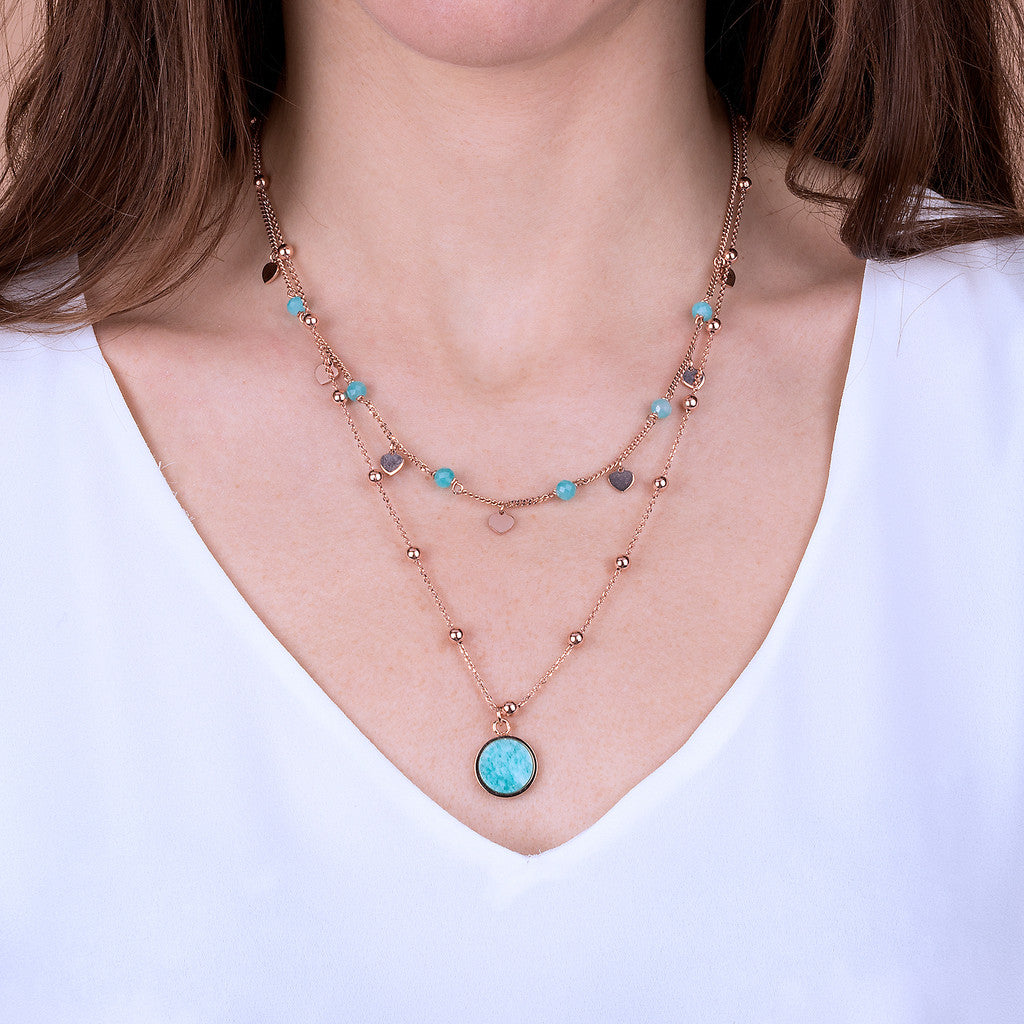 ALBA 2 STRANDS NECKLACE WITH FACETED GEMSTONE - WSBZ01793