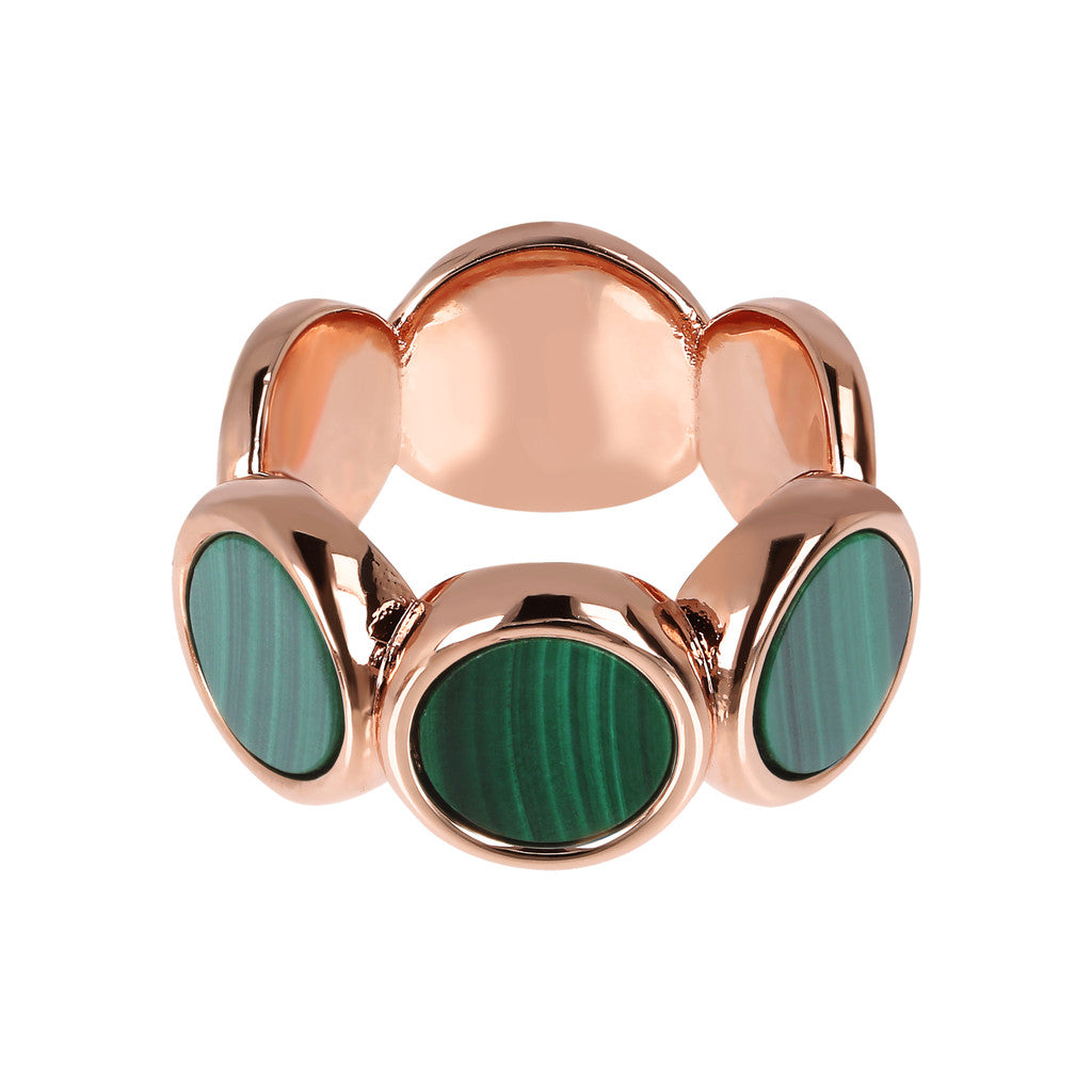 ALBA 8MM FLAT DISC STONE RING - WSBZ01756 MALACHITE setting