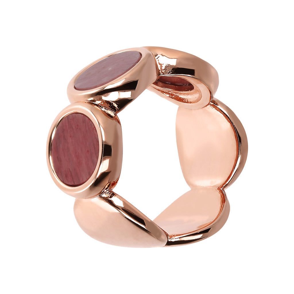 ALBA 8MM FLAT DISC STONE RING - WSBZ01756 RED FOSSIL WOOD