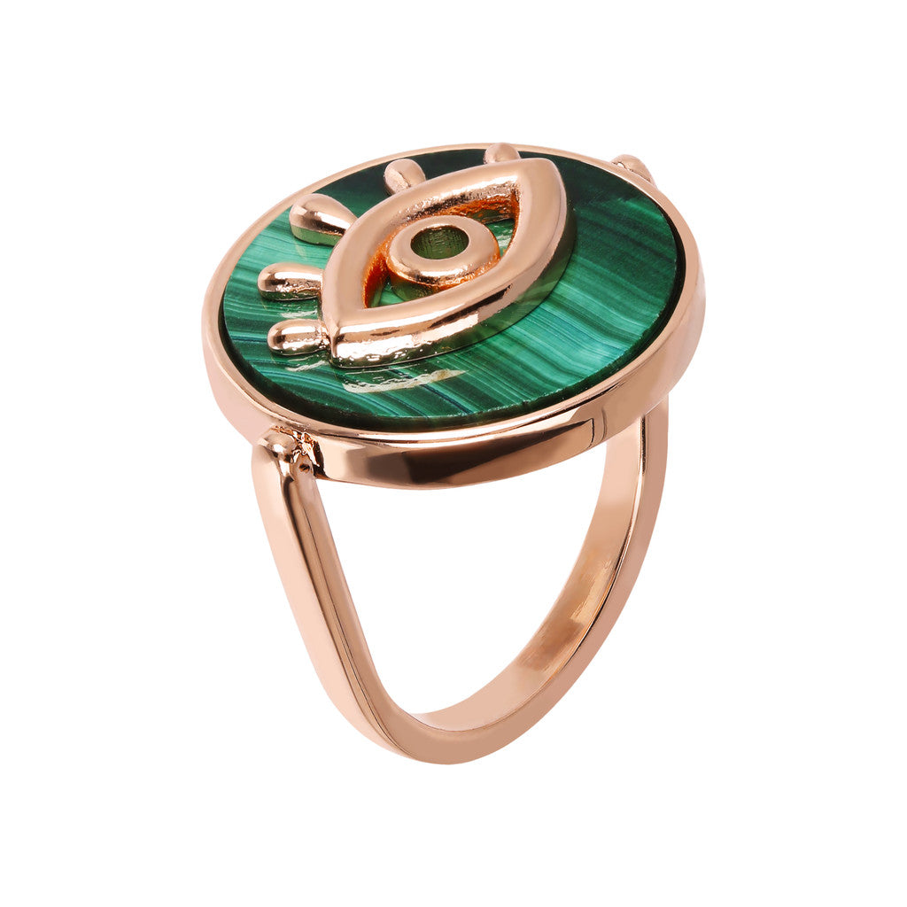 ALBA ALBA ALPHABET flat DISC STONE RING WITH EYE  ELEMENT - WSBZ01704 MALACHITE