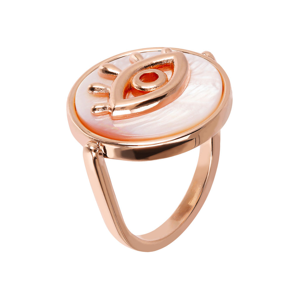 ALBA ALBA ALPHABET flat DISC STONE RING WITH EYE  ELEMENT - WSBZ01704 PINK MOP