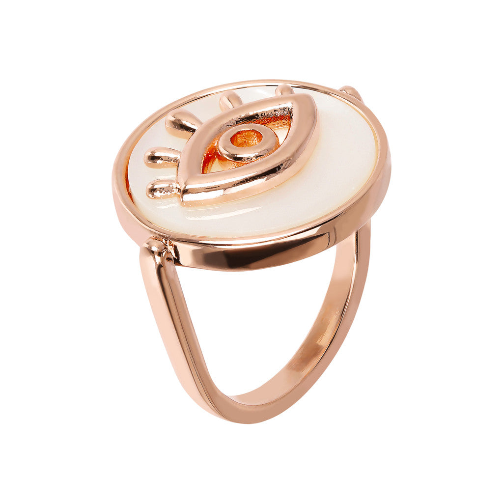 Bronzallure | Rings | ALBA ALBA ALPHABET flat DISC STONE RING WITH EYE  ELEMENT - WSBZ01704