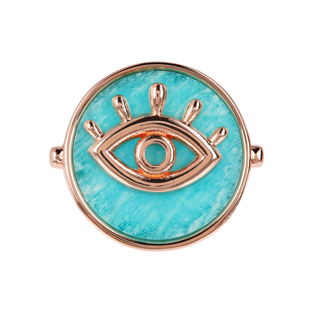 ALBA ALBA ALPHABET flat DISC STONE RING WITH EYE  ELEMENT - WSBZ01704 setting
