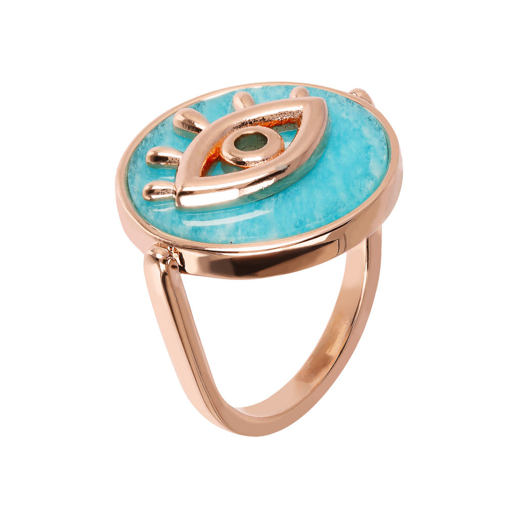 ALBA ALBA ALPHABET flat DISC STONE RING WITH EYE  ELEMENT - WSBZ01704