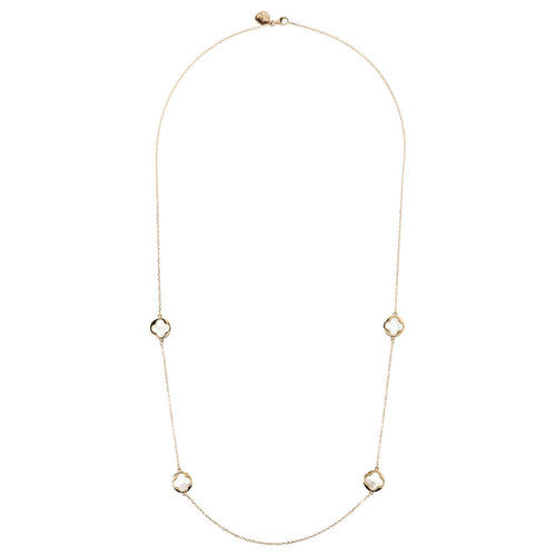 ALBA BRONZALLURE GOLDEN  FORZATINA NECKLACE WITH FOURLEAF ELEMENTS STATION  WITH GEMSTONE - WSBZ01002Y from above