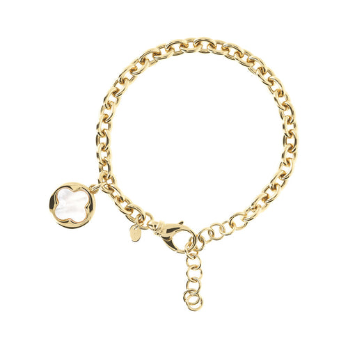 ALBA BRONZALLURE GOLDEN OVAL ROLO BRACELET WITH DANGLE FOUR LEAF  CHARM AND GEMSTONE WITH EXTENDER - WSBZ00912Y