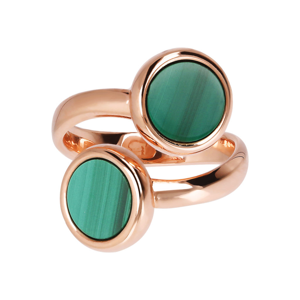 ALBA CONTRAIRE 8MM FLAT DISC STONE RING - WSBZ01757 MALACHITE setting