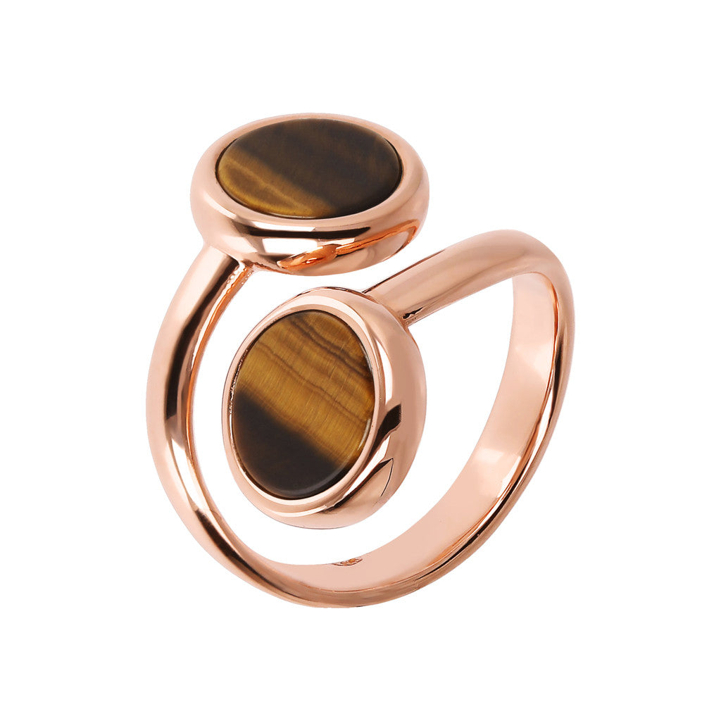 ALBA CONTRAIRE 8MM FLAT DISC STONE RING - WSBZ01757 TIGER EYE