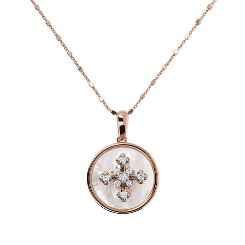ALBA CROSS WITH CZ GEMSTONE AND MOTHER OF PEARL PENDANT WITH CUBIC CHAIN ADJUSTABLE NECKLACE - WSBZ01641 WHITE MOP-WHITE CZ