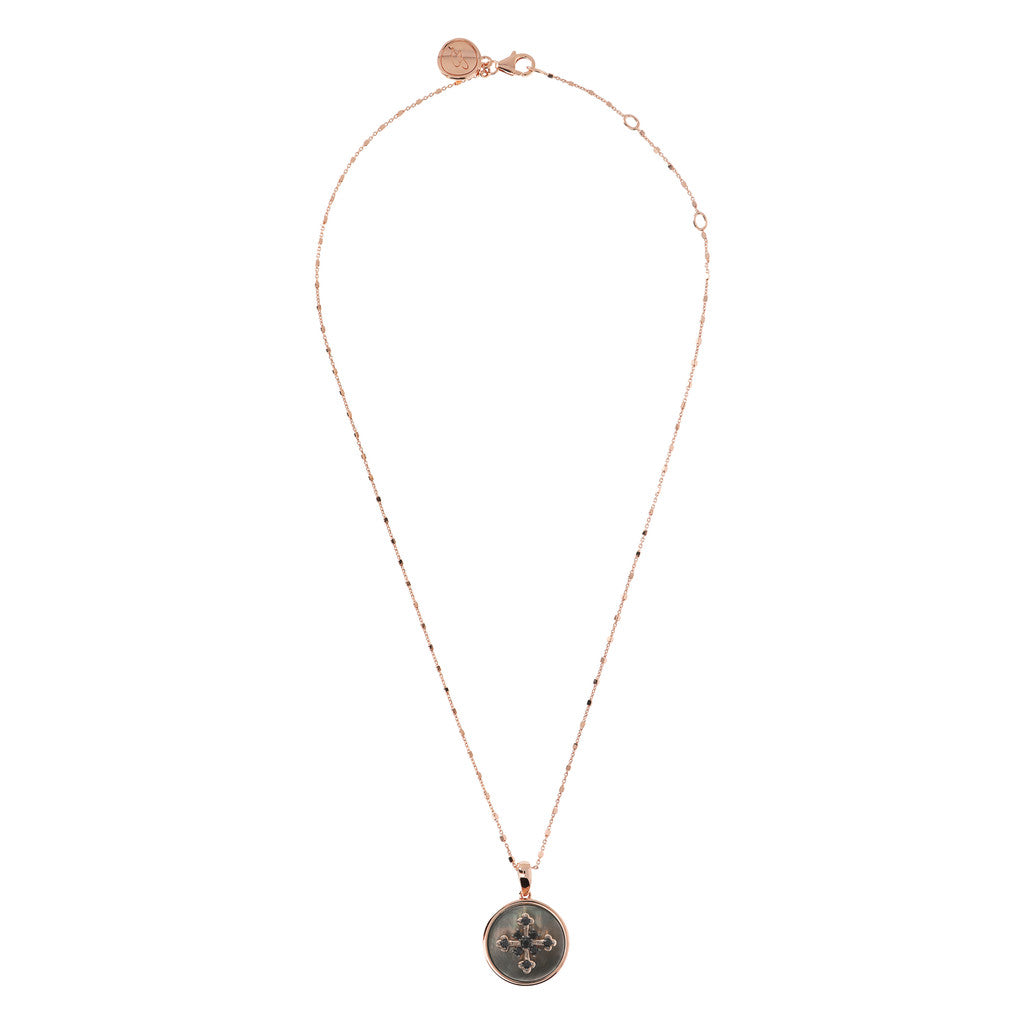 ALBA CROSS WITH CZ GEMSTONE AND MOTHER OF PEARL PENDANT WITH CUBIC CHAIN ADJUSTABLE NECKLACE - WSBZ01641 from above