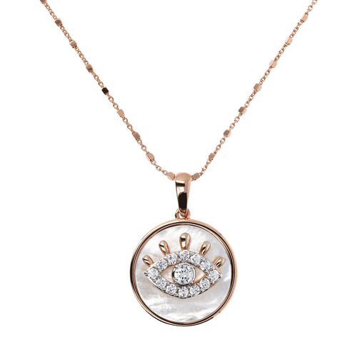 ALBA EYE CZ GEMSTONE AND MOTHER OF PEARL PENDANT WITH CUBIC CHAIN ADJUSTABLE NECKLACE - WSBZ01642 WHITE MOP