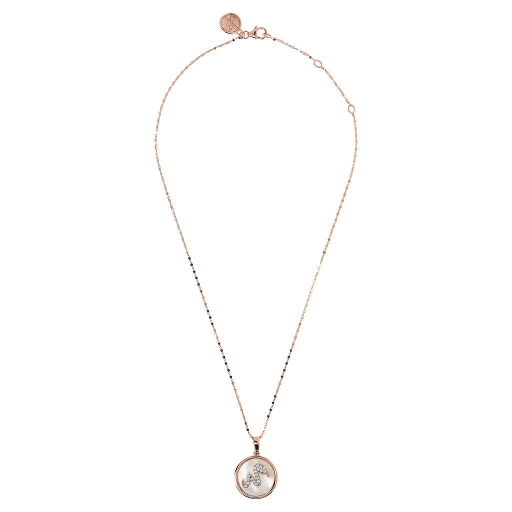 ALBA SNAKE WITH CZ GEMSTONE AND MOTHER OF PEARL PENDANT WITH CUBIC CHAIN ADJUSTABLE NECKLACE - WSBZ01643 WHITE MOP from above
