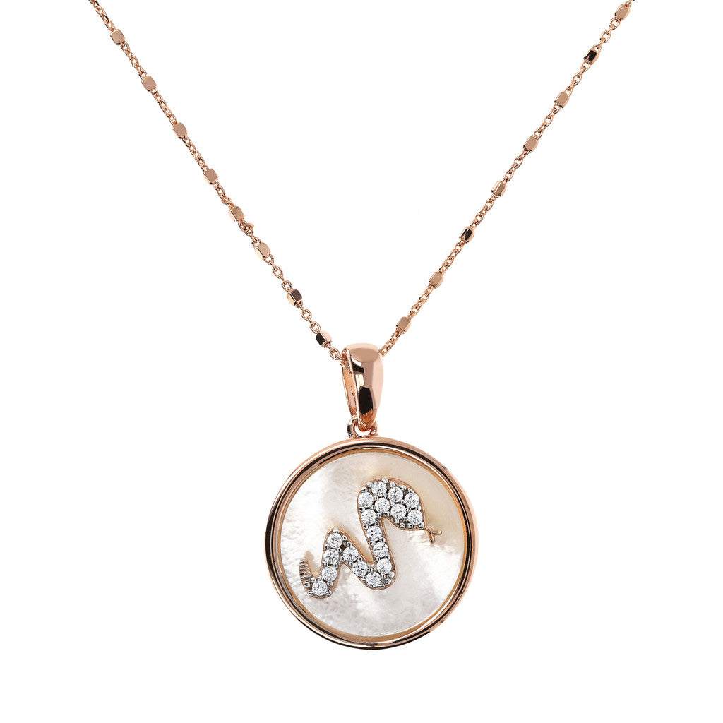 ALBA SNAKE WITH CZ GEMSTONE AND MOTHER OF PEARL PENDANT WITH CUBIC CHAIN ADJUSTABLE NECKLACE - WSBZ01643 WHITE MOP