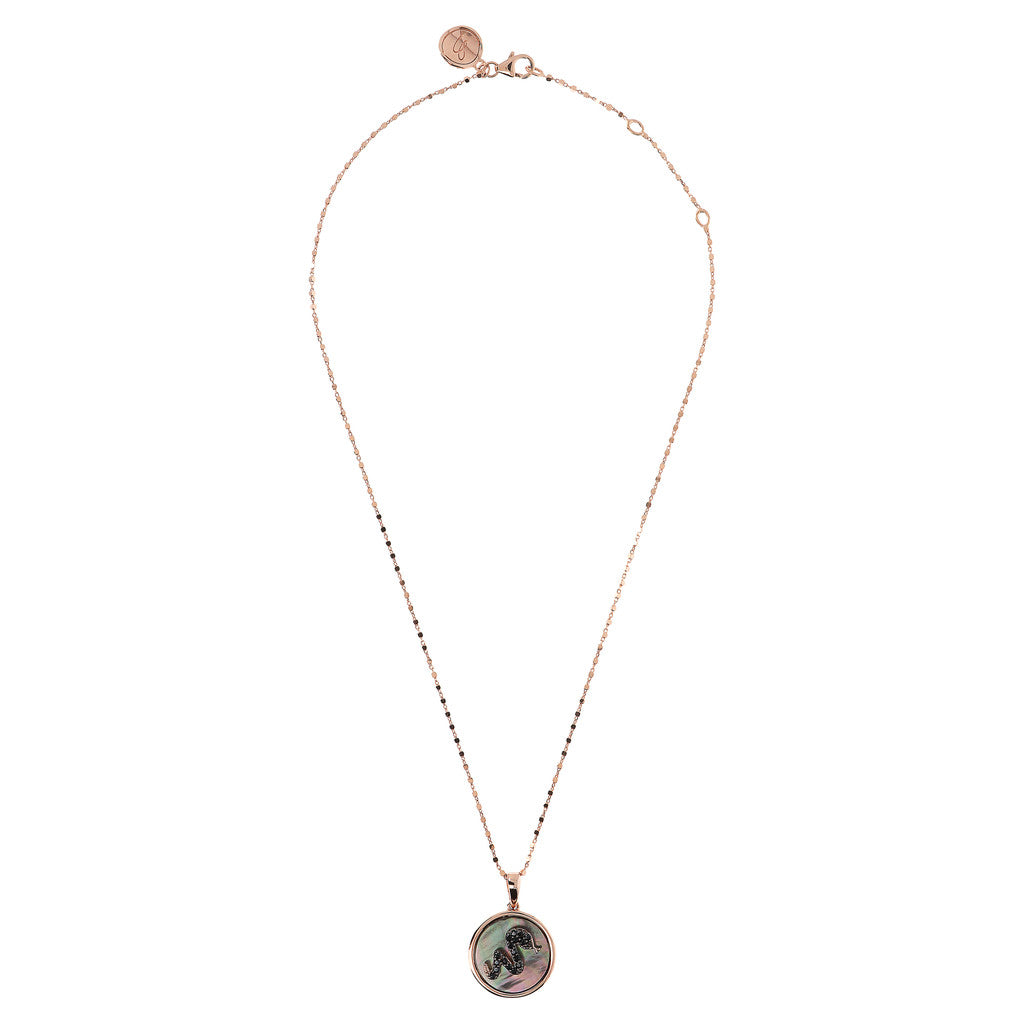 ALBA SNAKE WITH CZ GEMSTONE AND MOTHER OF PEARL PENDANT WITH CUBIC CHAIN ADJUSTABLE NECKLACE - WSBZ01643 from above