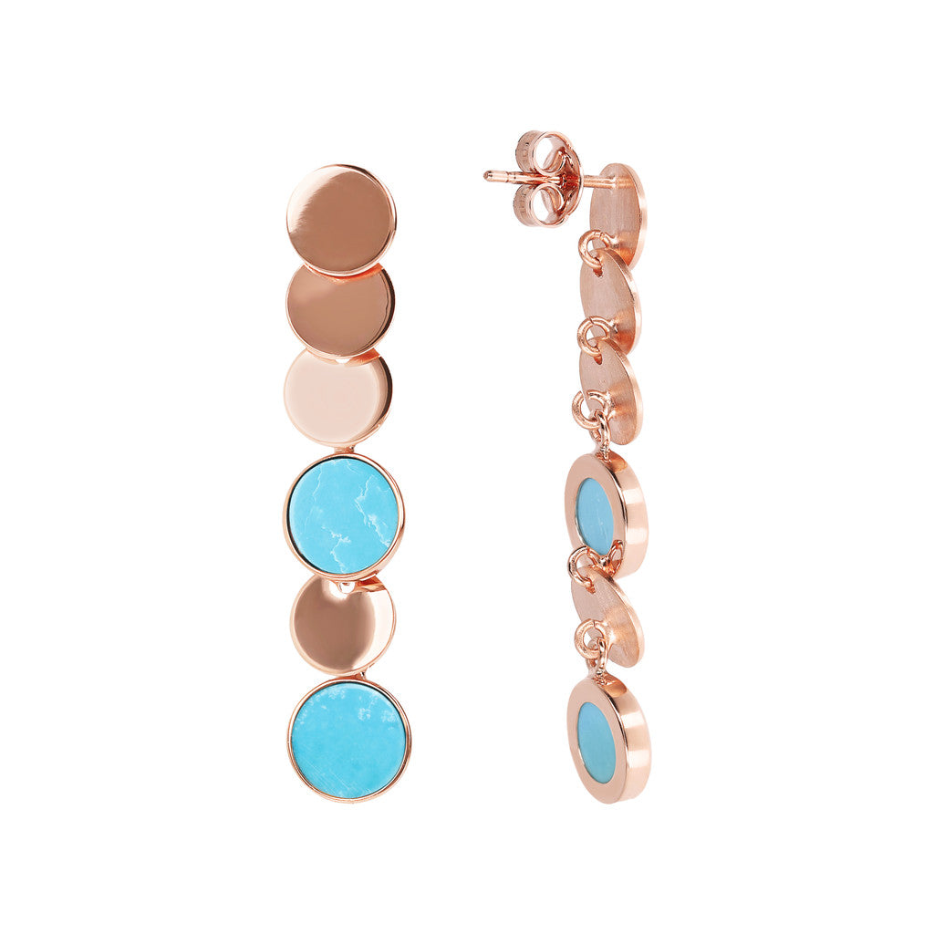 ALBA dangle polished 8MM disc earrings with flat disc stone - WSBZ01755 MAGNESITE front and side