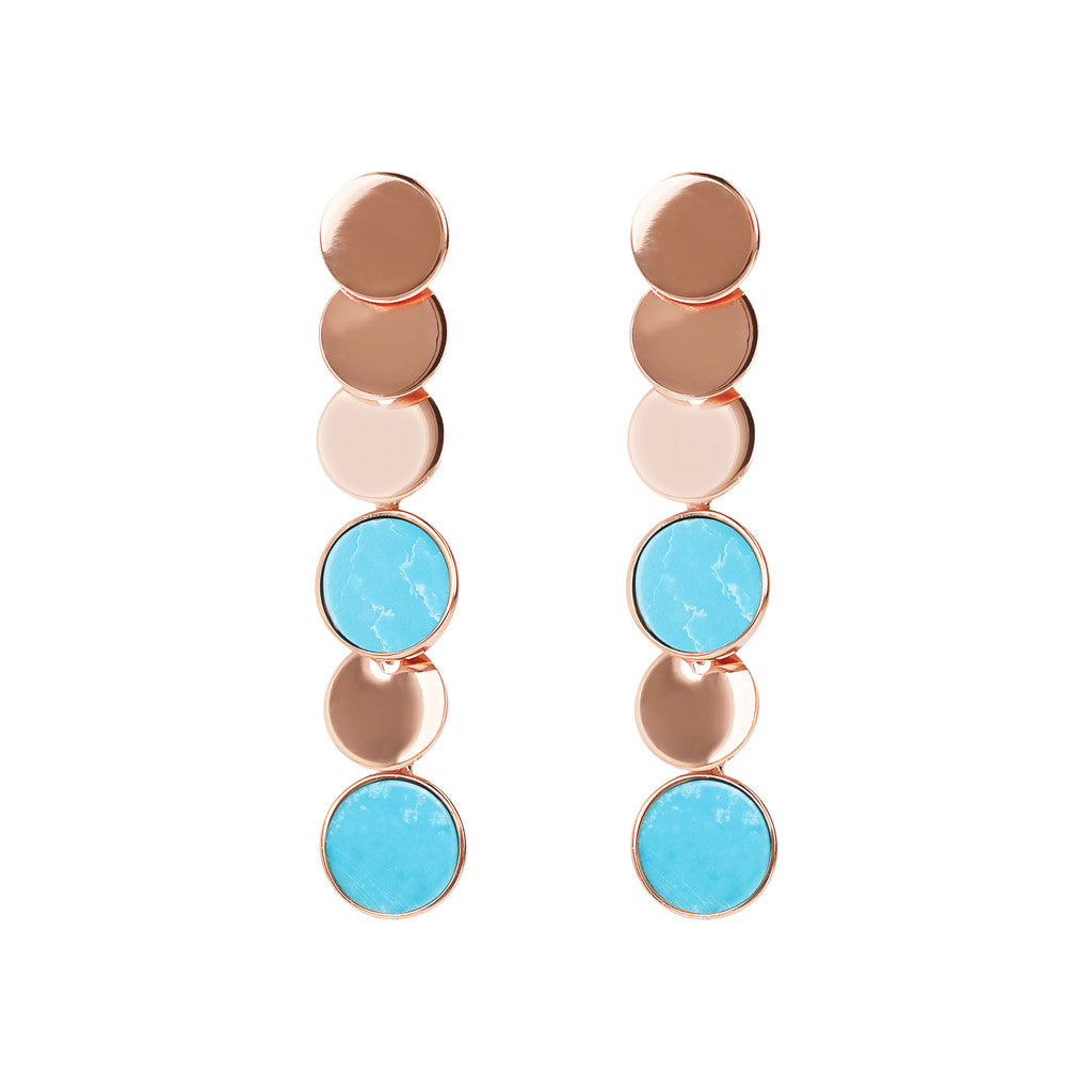 ALBA dangle polished 8MM disc earrings with flat disc stone - WSBZ01755 MAGNESITE